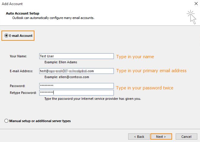 6d8ca42e Her velger du E-mail konto. Her fyller du ut den informasjonen som er  nødvendig.
